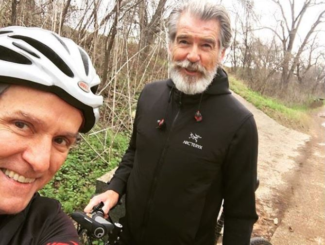 Pierce Brosnan on the Butler Hike and Bike Trail