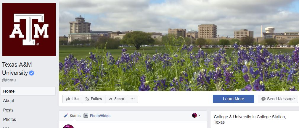 Texas A&M Facebook page