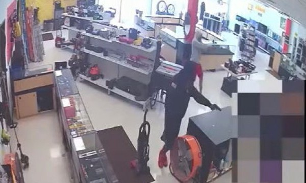 Red shoe suspects hold a person at a store on Ed Bluestein Boulevard at gunpoint