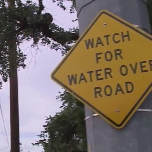 Low water crossing water on road