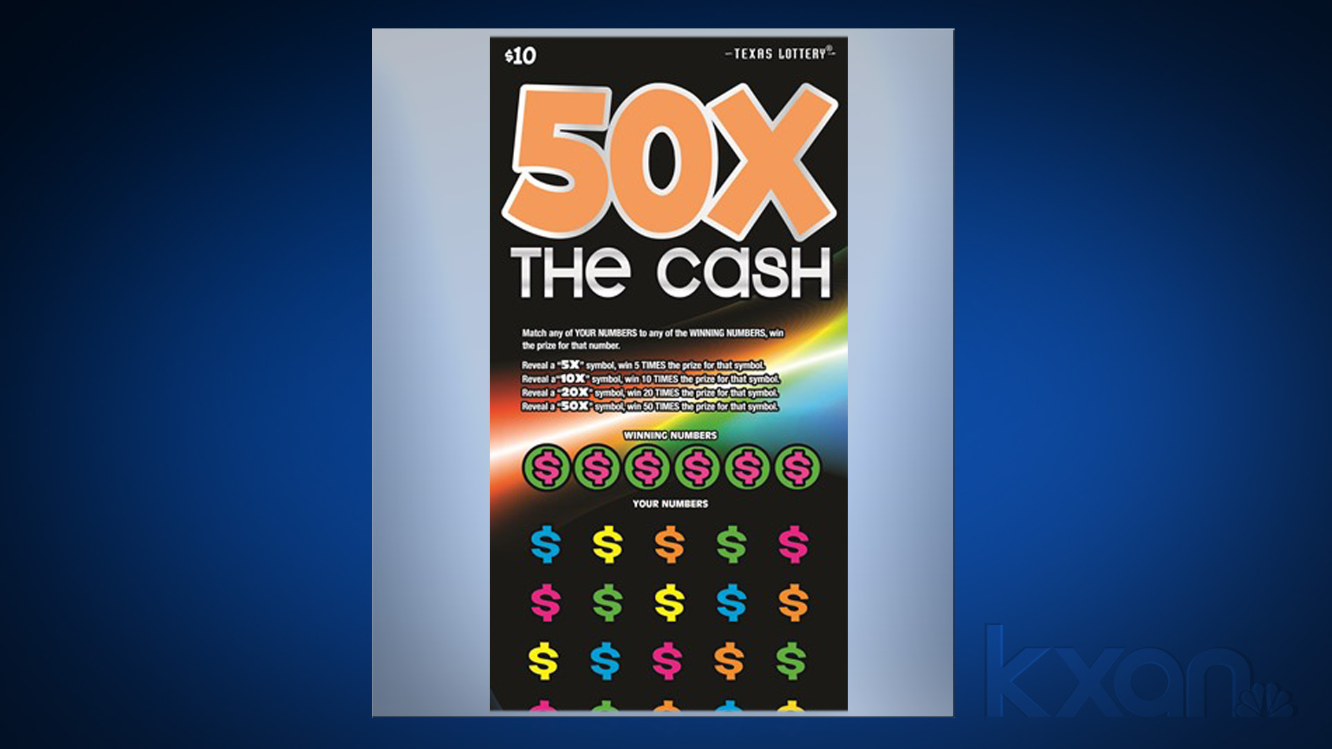 50X the cash lottery scratch
