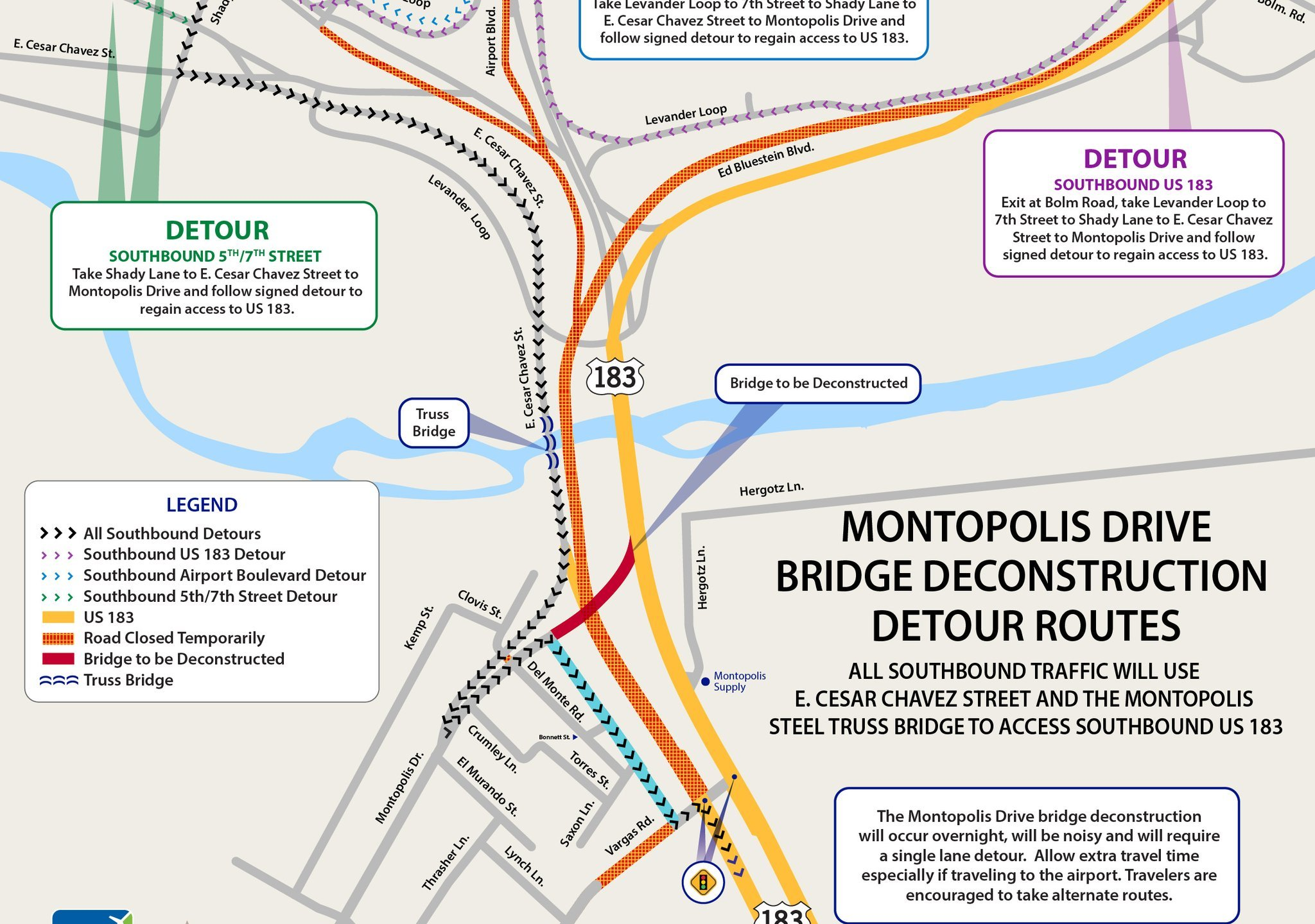 183 South Montopolis Bridge deconstruction detours