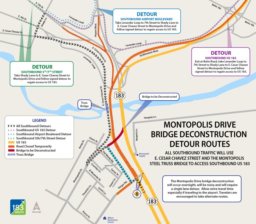 183 South Montopolis Bridge deconstruction detours