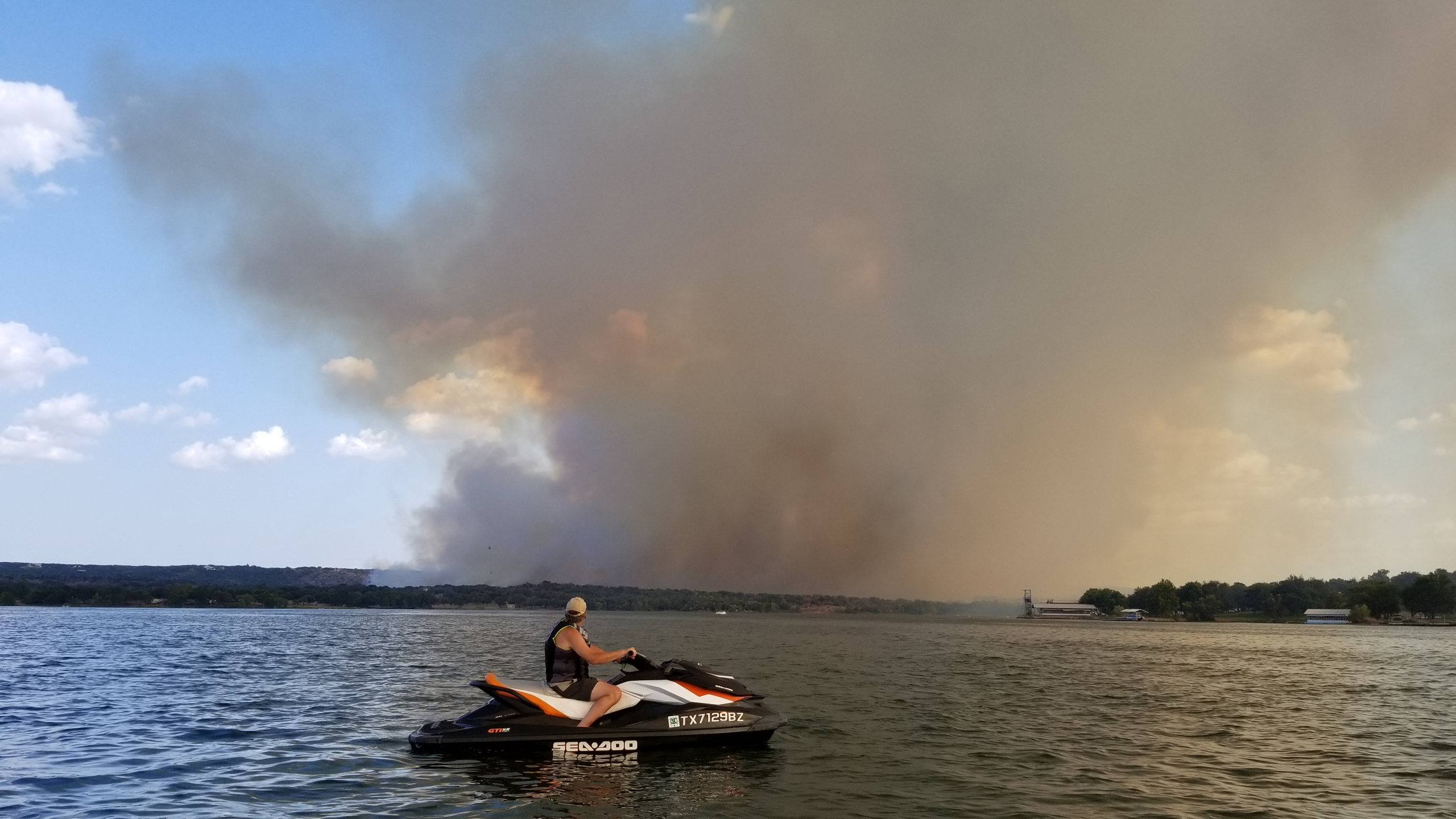 The Park Road Fire in Burnet County from Inks Lake State Park on July 29, 2018