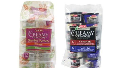 Creamy Creations sherbet and ice cream packs