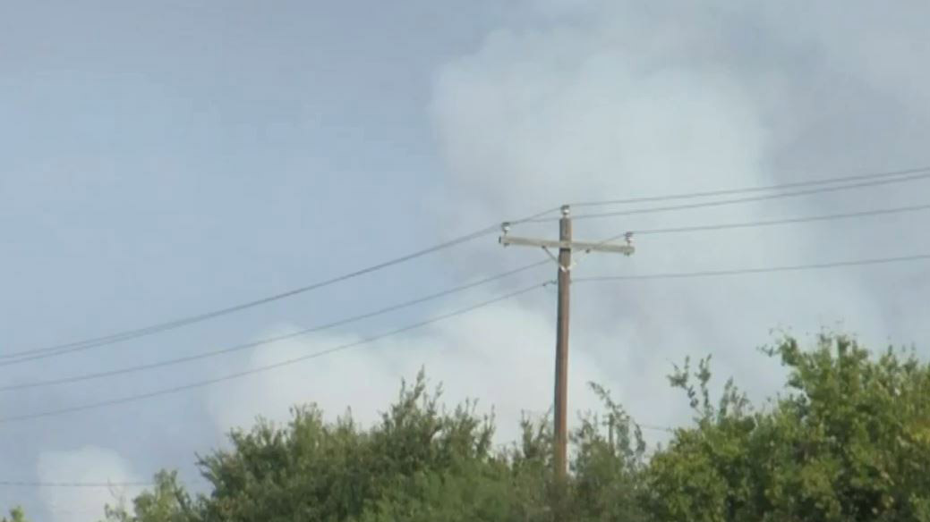 Smoke billowing from a fire near Zephyr, Texas