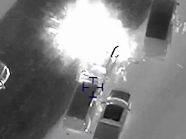 The explosion that killed Mark Conditt on the I-35 service road in Round Rock on March 20, 2018