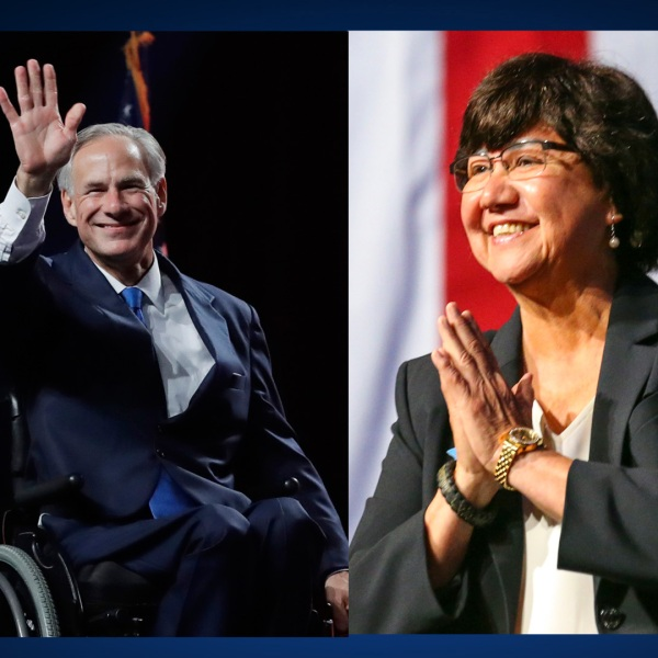 Greg Abbott, left, and Lupe Valdez