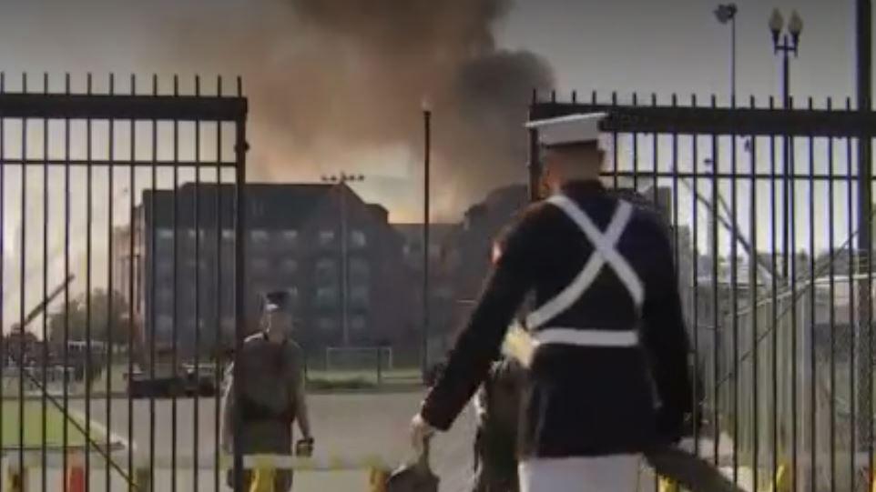 A large fire near the Navy Yard in Washington, D.C.