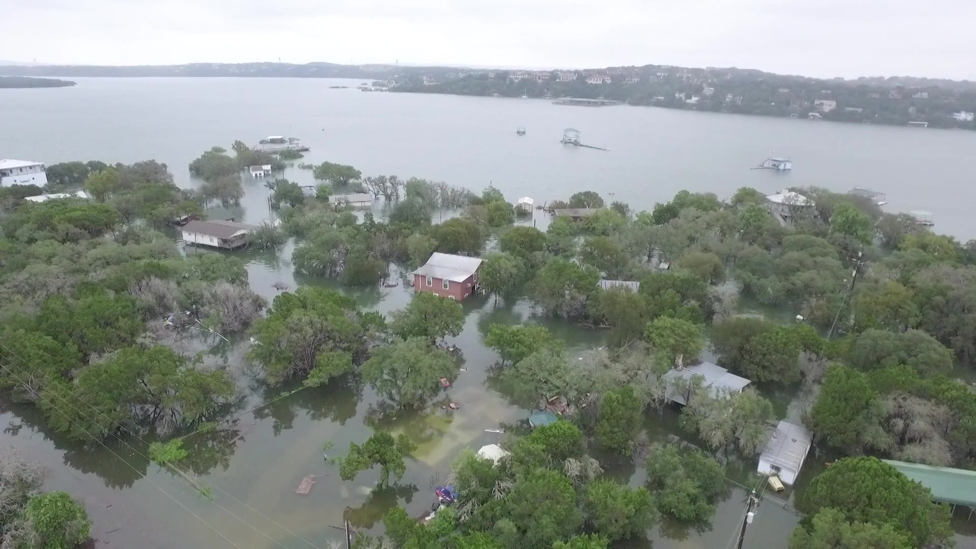 Flooded homes in Graveyard Point along Lake Travis on Oct. 18, 2018