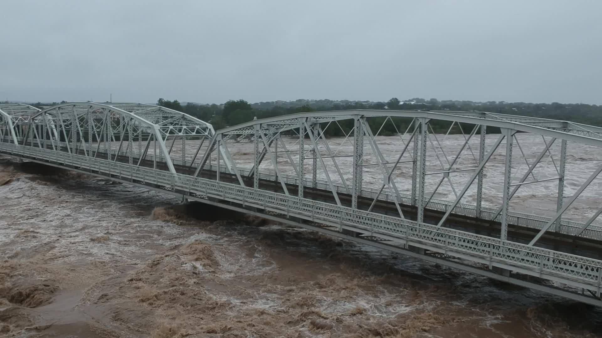 Floodwaters under Inks Bridge in Llano on Oct. 16, 2018