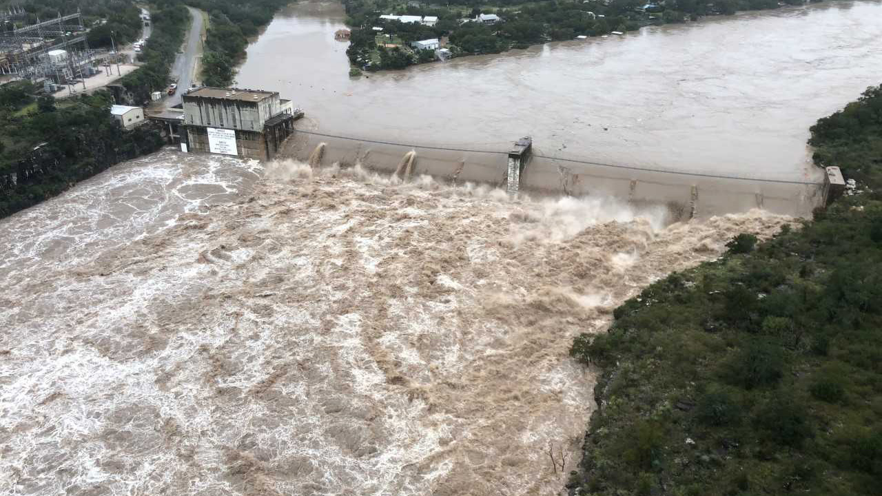 Floodwaters go over Starcke Dam on Oct. 16, 2018