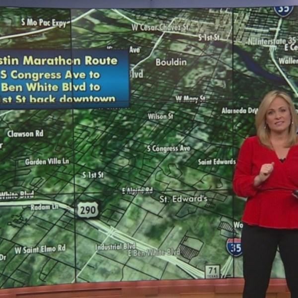 Street closures during the Austin Marathon