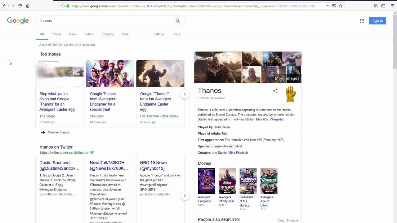 Check out this awesome 'Thanos' Easter egg on Google Search