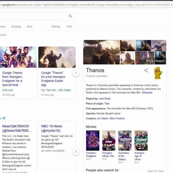 Check out this awesome 'Thanos' easter egg on google