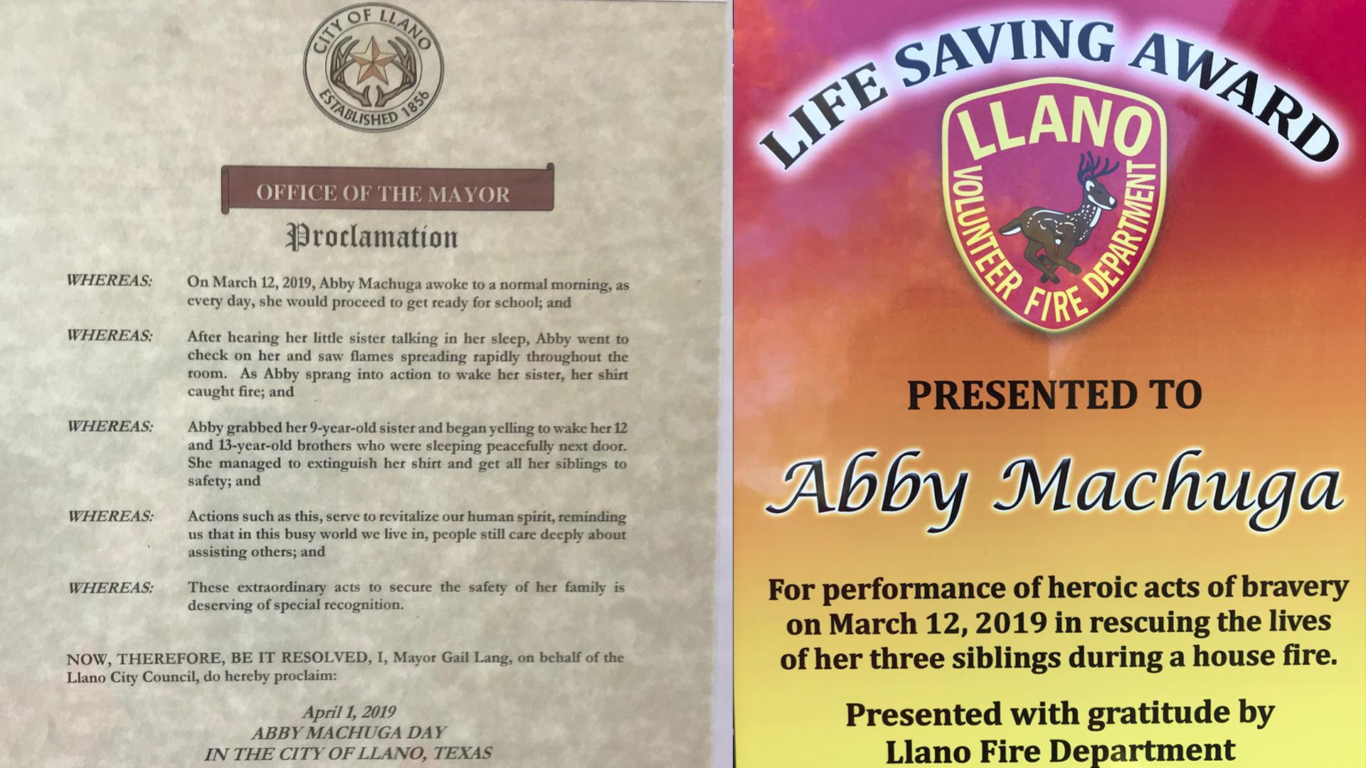 Llano girl honored for saving siblings, cat from Llano house