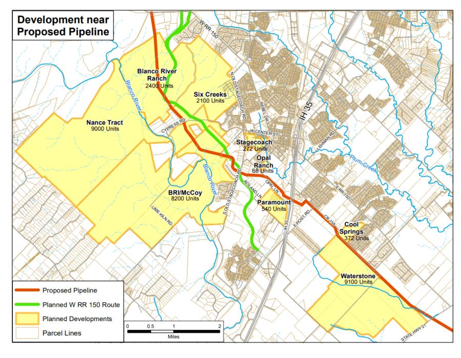 Map of planned development near pipeline