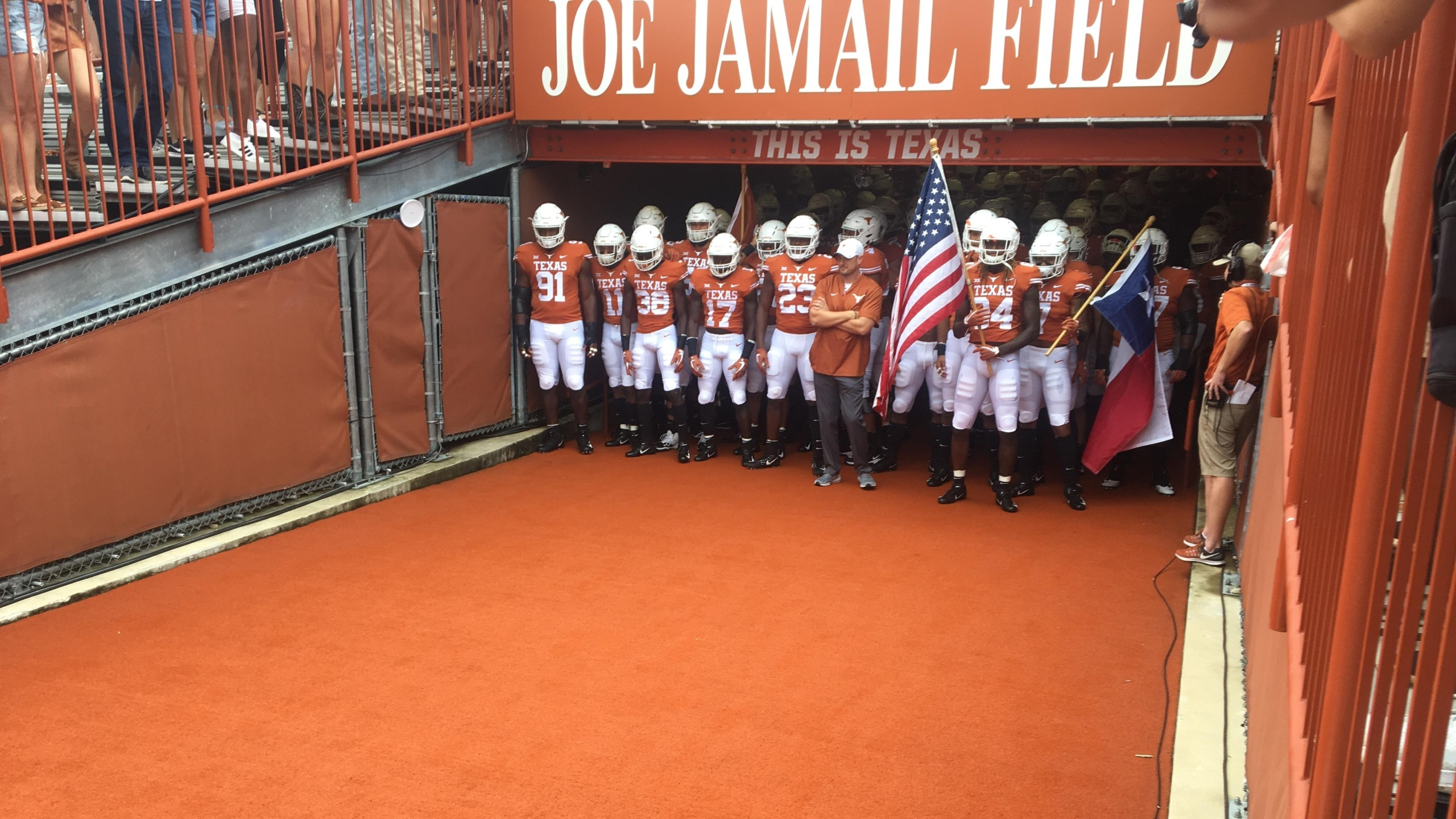 Longhorns football in tunnel