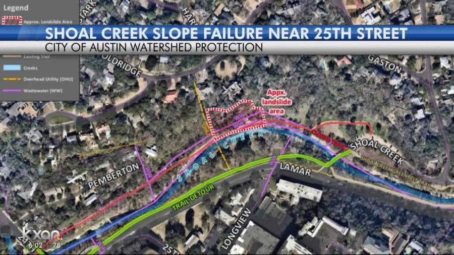 Shoal Creek landslide damage