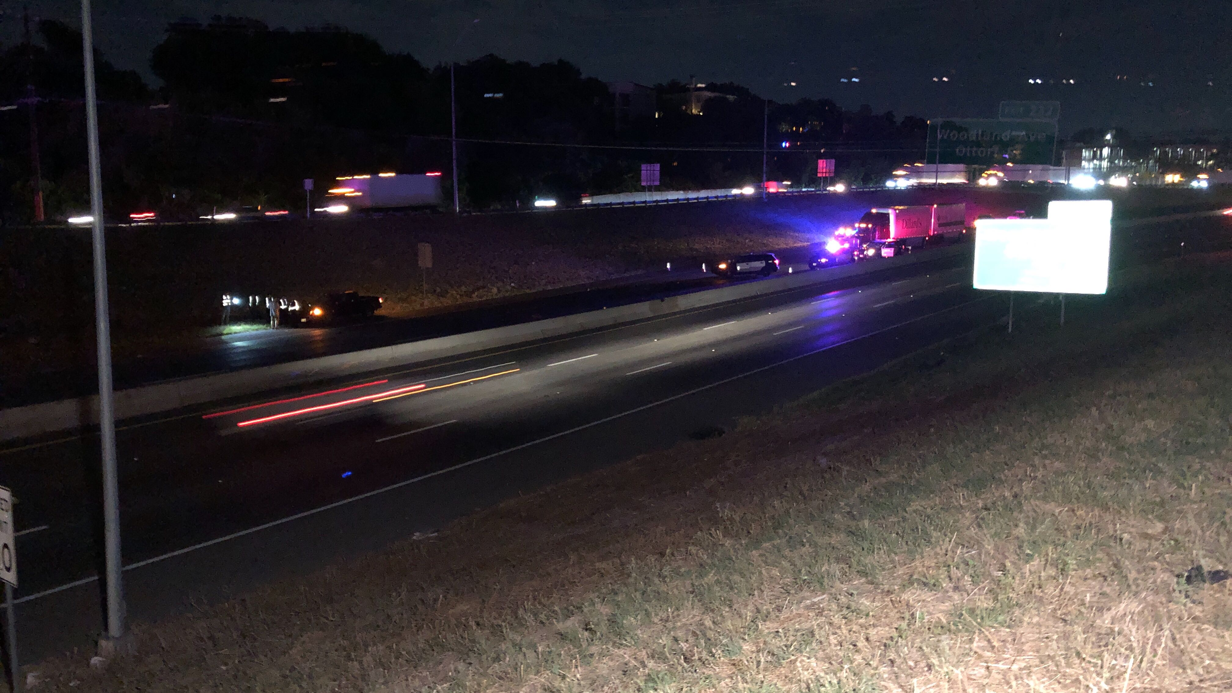 Man and dog hit, killed by multiple vehicles crossing I-35 in south