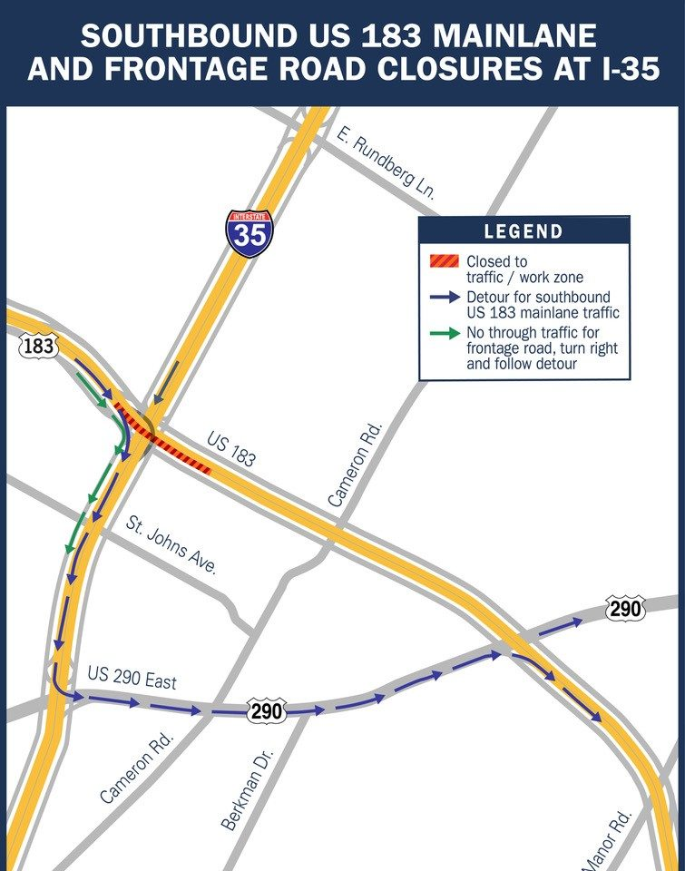 Major delays expected 2 weekends for US 183 in northeast ... on i-35 interstate map, ih 35 map, i-35 south iowa,