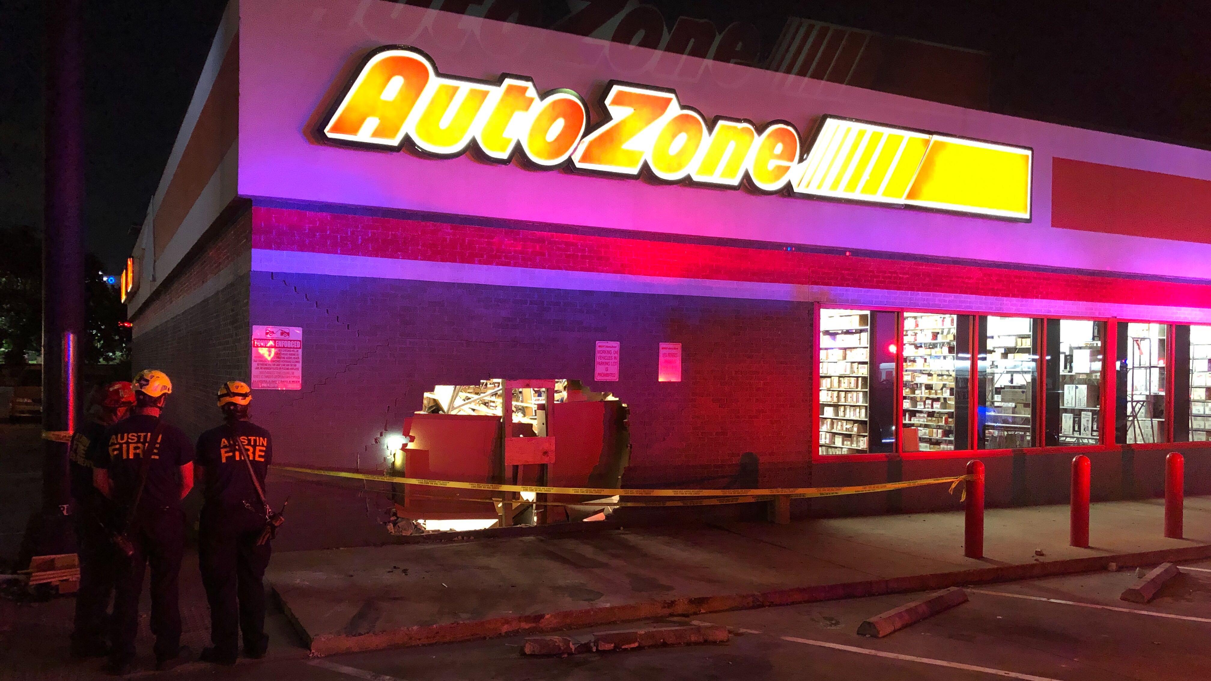 Car crashes into AutoZone in east Austin Monday