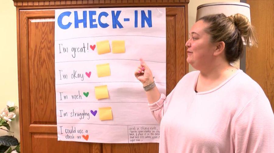Mental health check-in board