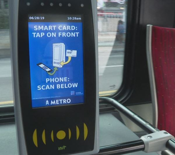 CapMetro scanners currently on MetroRapid buses. (KXAN Photo: Candy Rodriguez)