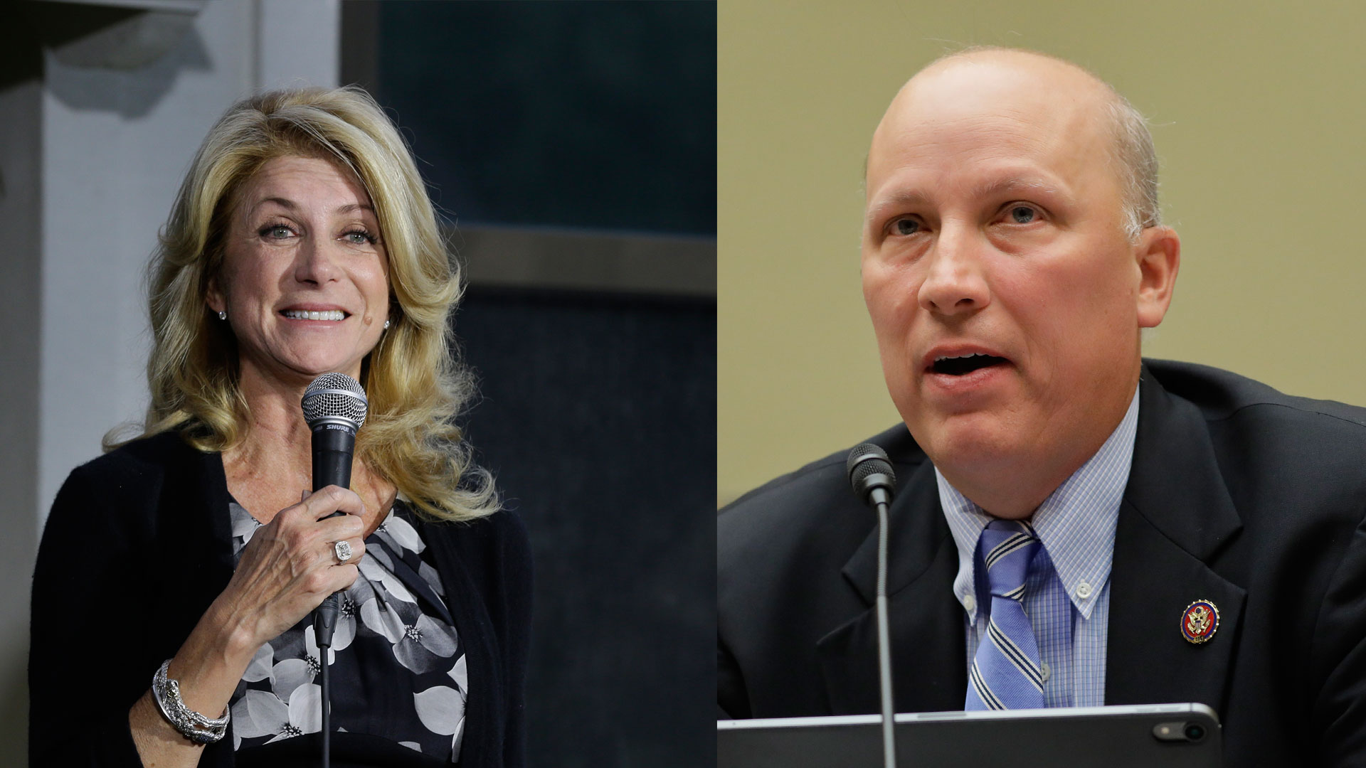 Wendy Davis and Chip Roy (AP Photos)