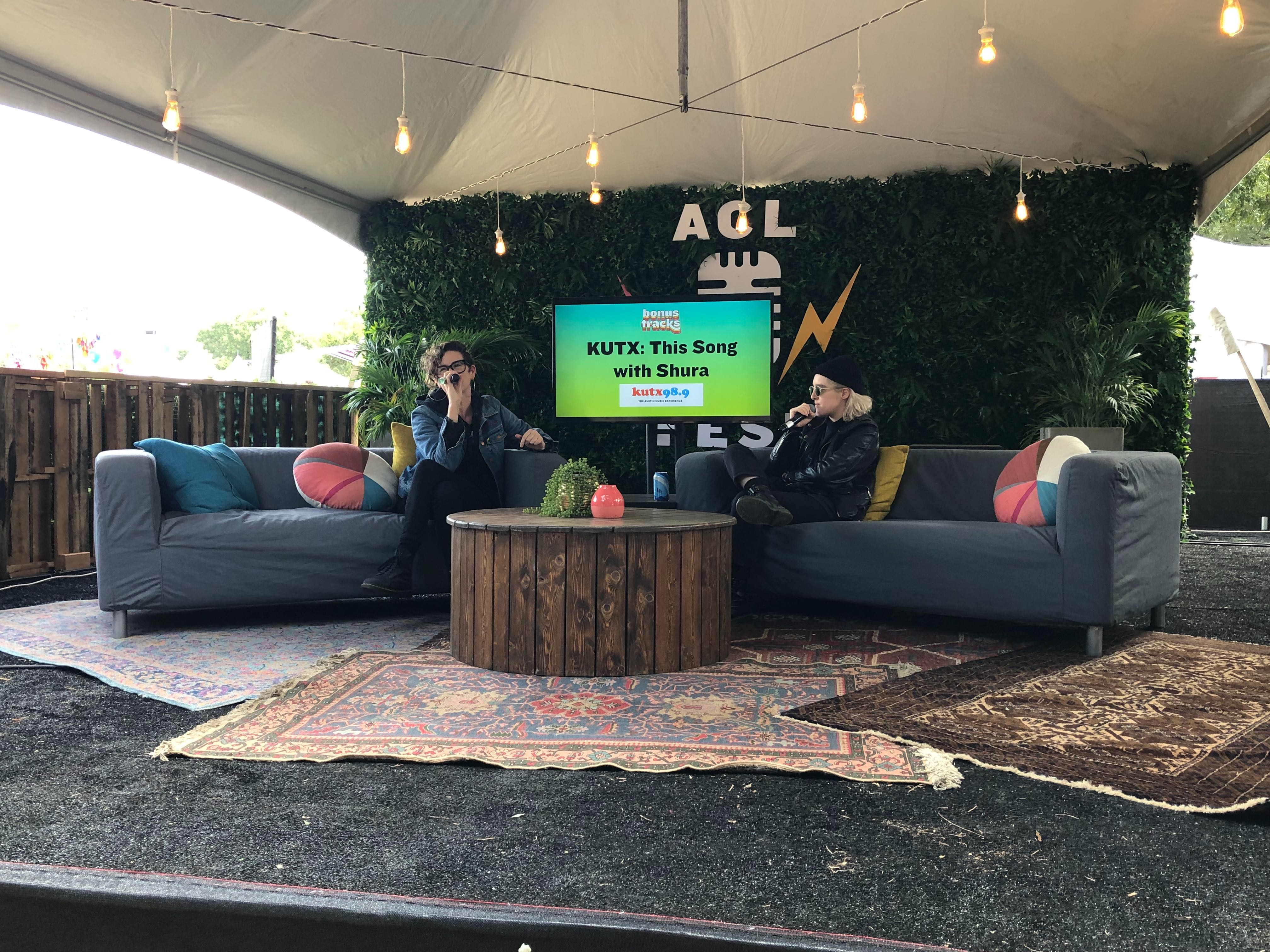 This Song ft. Shuts on the Bonus Tracks stage at ACL 2019. Host Elizabeth McQueen from KUTX interviews artists about a song that transformed them. (KXAN Photo/Amanda Dugan)