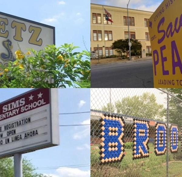 Split image showing Metz, Pease, Sims, and Brooke elementary schools