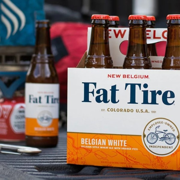 Six-pack of Fat Tire craft beer