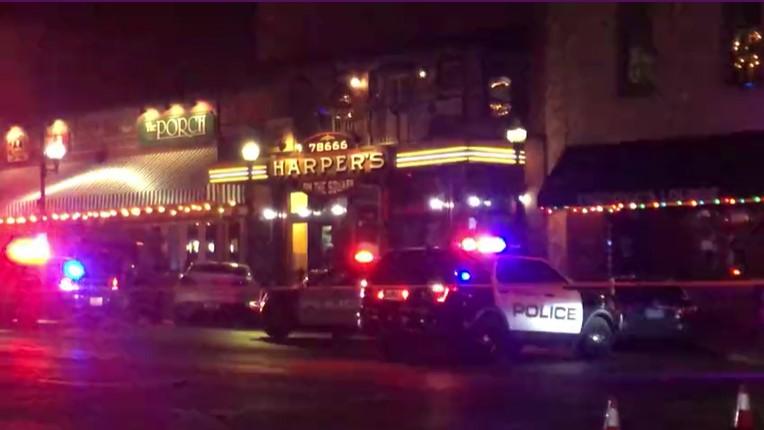 Police scene after shooting at Harper's