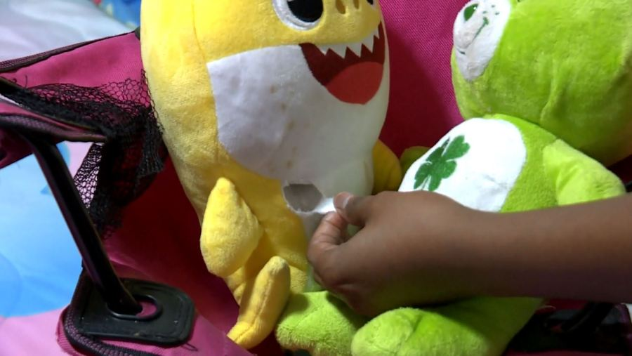 A bullet entered a Baby Shark toy near a sleeping child Dec. 1, 2019 (WMTV Photo)