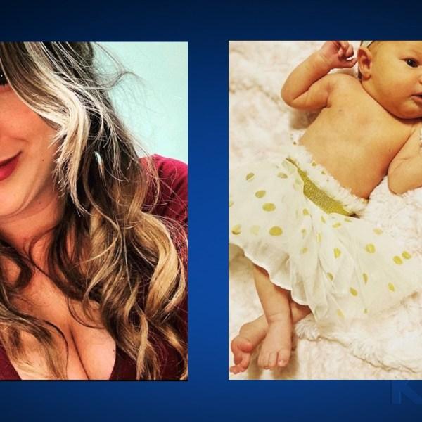 Heidi Broussard and her baby Margo Carey