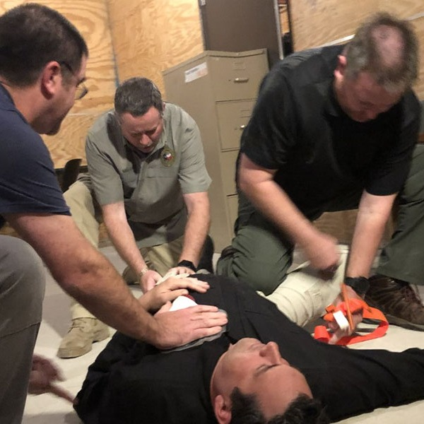 Law enforcement at the ALERRT training center in Maxwell, Texas, learn defense and medical tactics to teach civilians how to survive mass attacks. (KXAN Photo/Arezow Doost)