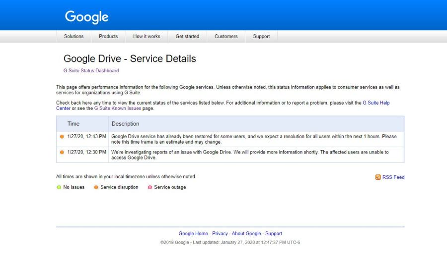 Google's Dashboard showed it was looking into service issues Jan. 27, 2020 (KXAN Photo)