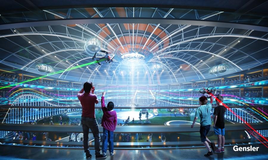 The interior of the proposed Gensler Austin robotics arena. (Courtesy of Gensler)