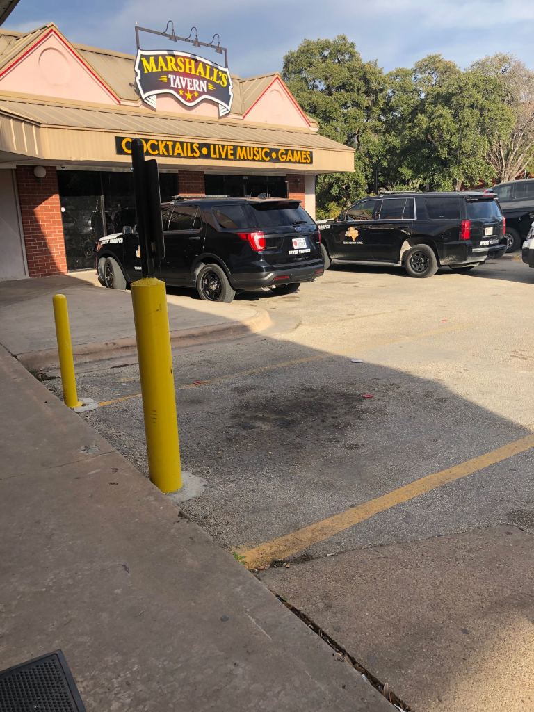 DPS vehicles were outside Marshall's Tavern in Austin Feb. 7, 2020 (KXAN Photo/Kaitlyn Karmout)