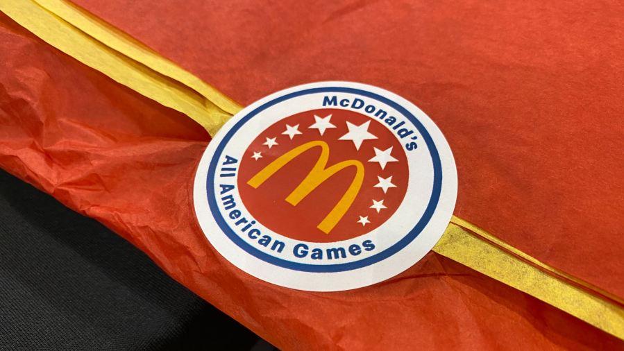 Vandegrift High School's Greg Brown III receives McDonald's All-American Jersey (KXAN Photo/Todd Bailey)