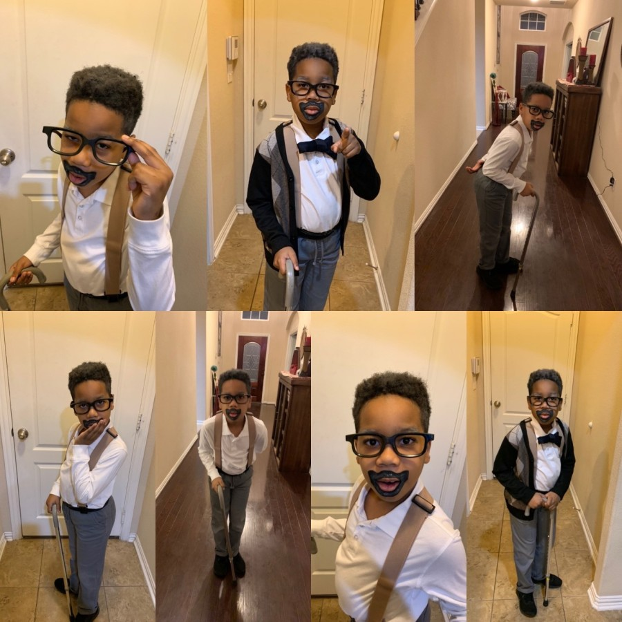 TyKell dressed as an old man for the 99th day of school (Courtesy Cheryl Hill)