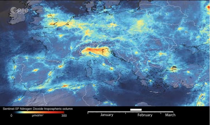 New data from the Copernicus Sentinel-5P satellite reveal the decline of air pollution, specifically nitrogen dioxide emissions, over Italy. (EESA Photo)