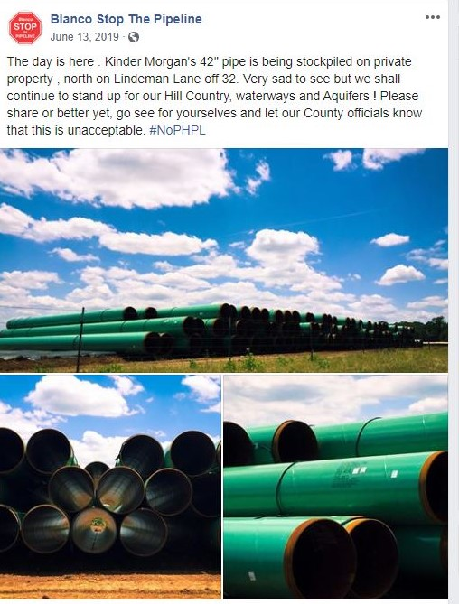 "The ""Blanco Stop the Pipeline"" group documented the first batch of pipe segments delivered to the Blanco yard in this June 2019 Facebook post."