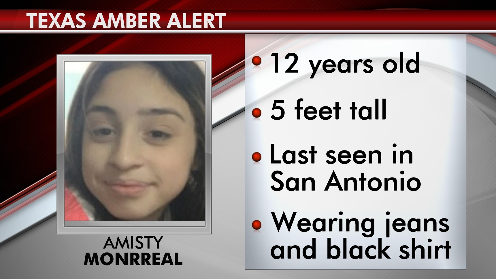 Amber Alert San Antonio Police Looking For 12 Year Old Girl Kxan Austin