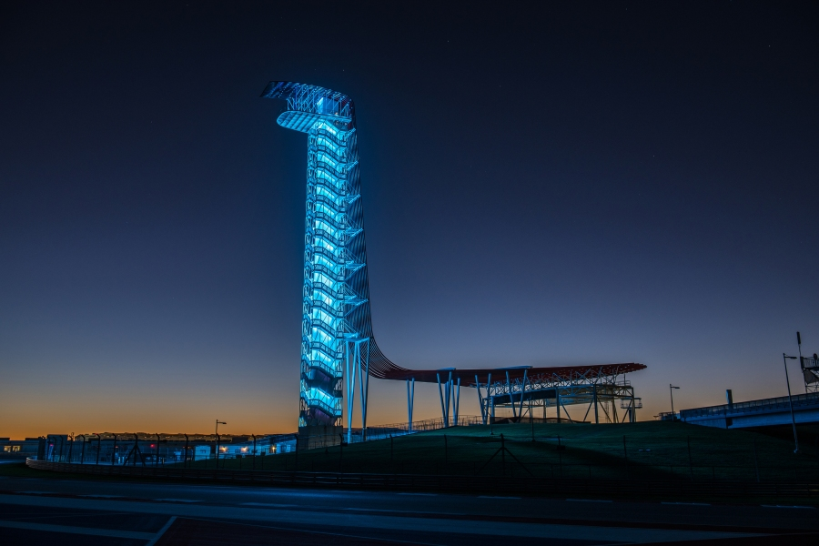 COTA's tower lit blue to support essential workers (Circuit of the Americas Photo)