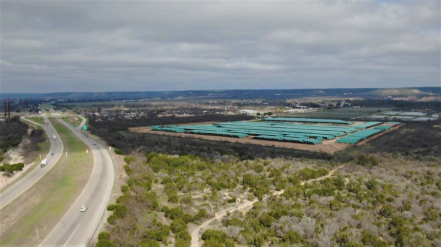 The TX Railroad Commission inspectors did not visit any other pipe storage yard during their investigation in late March 2020, including this large site in Junction, TX. KXAN found pipe coatings dates from March 2019 in this storage site. (KXAN Photo)