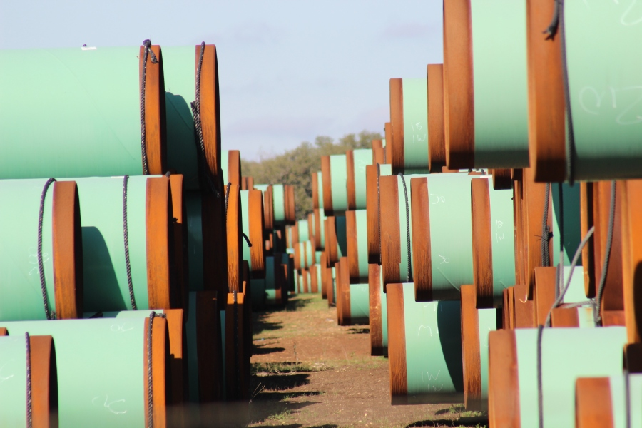 These pipe are locked inside a Kinder Morgan stock yard in Blanco County, TX awaiting installation along the Permian Highway Pipeline route. (KXAN Photo/Jody Barr)
