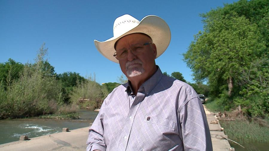 Gillespie County Commissioner Dennis Neffendorf said he's worried about the length of time Kinder Morgan's pipe segments have been exposed to UV radiation while being stored in five stock yards across Texas. He'll live within 850' of the Permian Highway Pipeline. (KXAN Photo/Jody Barr)