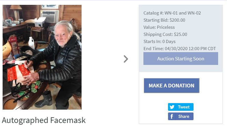 Facemasks autographed by Willie Nelson will be auctioned to raise money to make more (John and Tanya Boike Photo)