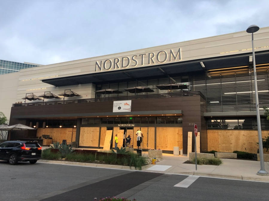 Nordstrom in The Domain boarded up Austin 5-31-20